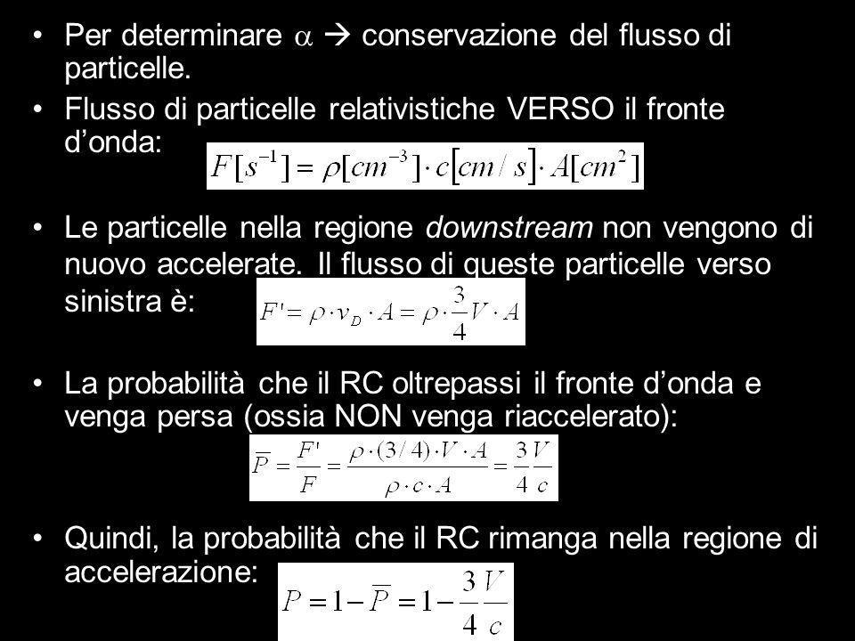 Per determinare conservazione del flusso di particelle. Flusso di particelle relativistiche VERSO il fronte donda: Le particelle nella regione downstr