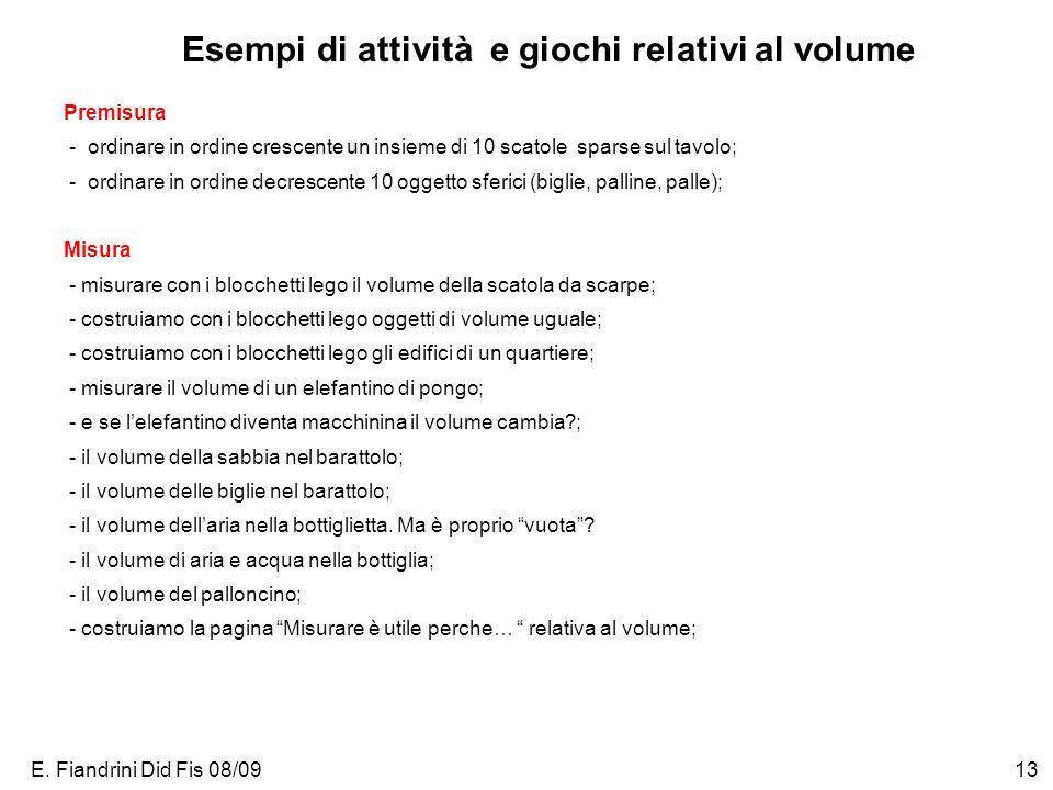 E. Fiandrini Did Fis 08/0913 Esempi di attività e giochi relativi al volume Premisura - ordinare in ordine crescente un insieme di 10 scatole sparse s
