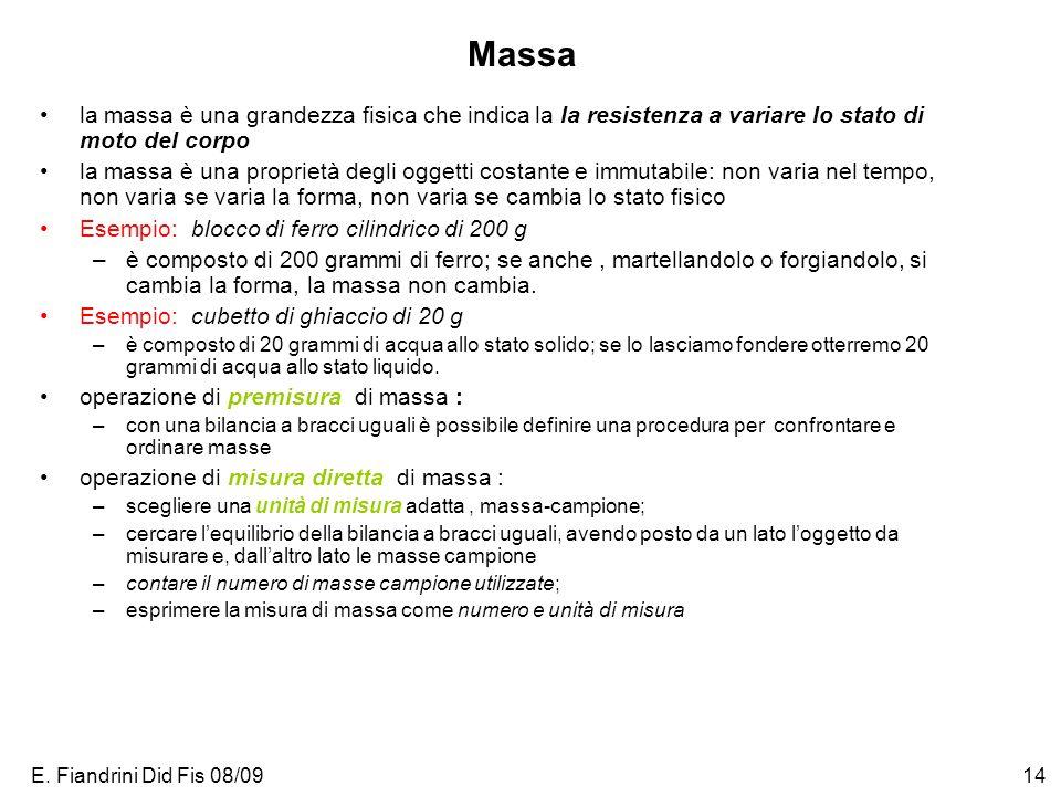 E. Fiandrini Did Fis 08/0914 Massa la massa è una grandezza fisica che indica la la resistenza a variare lo stato di moto del corpo la massa è una pro