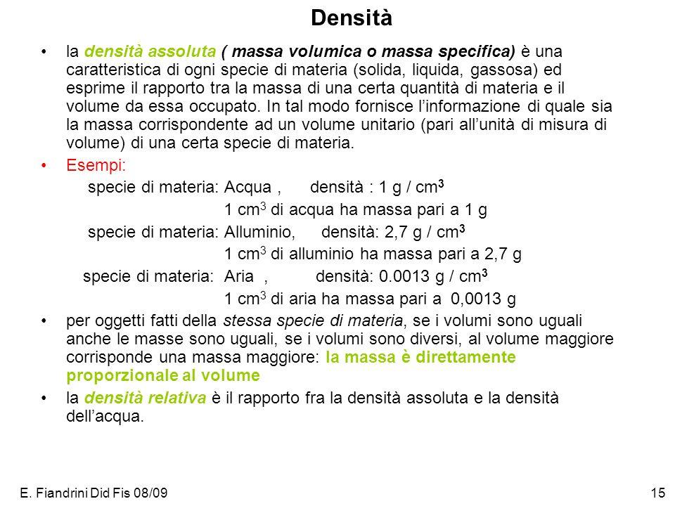 E. Fiandrini Did Fis 08/0915 Densità la densità assoluta ( massa volumica o massa specifica) è una caratteristica di ogni specie di materia (solida, l