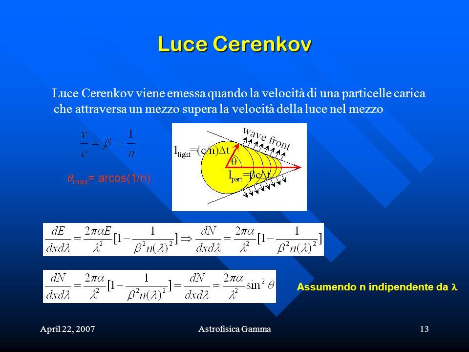 April 22, 2007Astrofisica Gamma13 Luce Cerenkov Luce Cerenkov viene emessa quando la velocità di una particelle carica che attraversa un mezzo supera