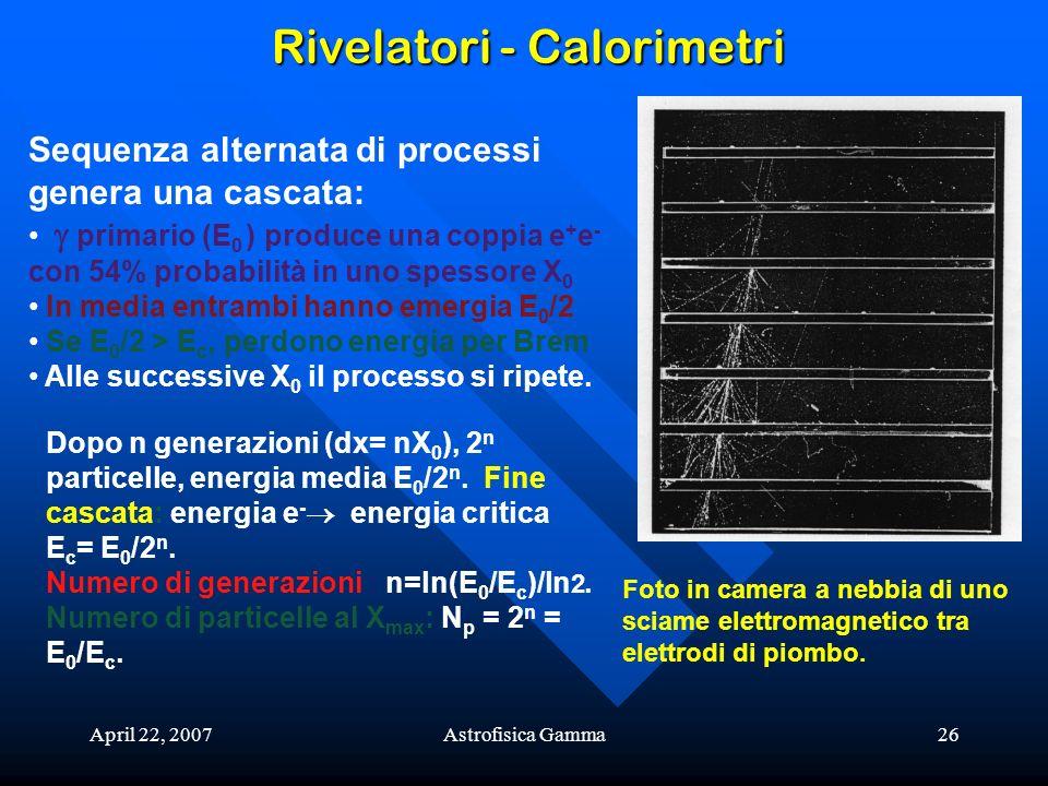 April 22, 2007Astrofisica Gamma26 Rivelatori - Calorimetri Sequenza alternata di processi genera una cascata: primario (E 0 ) produce una coppia e + e