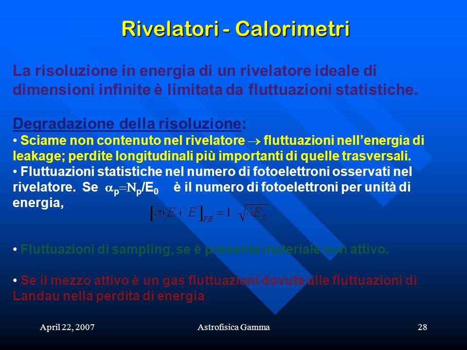 April 22, 2007Astrofisica Gamma28 Rivelatori - Calorimetri La risoluzione in energia di un rivelatore ideale di dimensioni infinite è limitata da flut