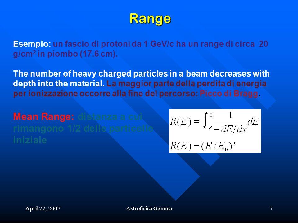 April 22, 2007Astrofisica Gamma7 Range Esempio: un fascio di protoni da 1 GeV/c ha un range di circa 20 g/cm 2 in piombo (17.6 cm). The number of heav