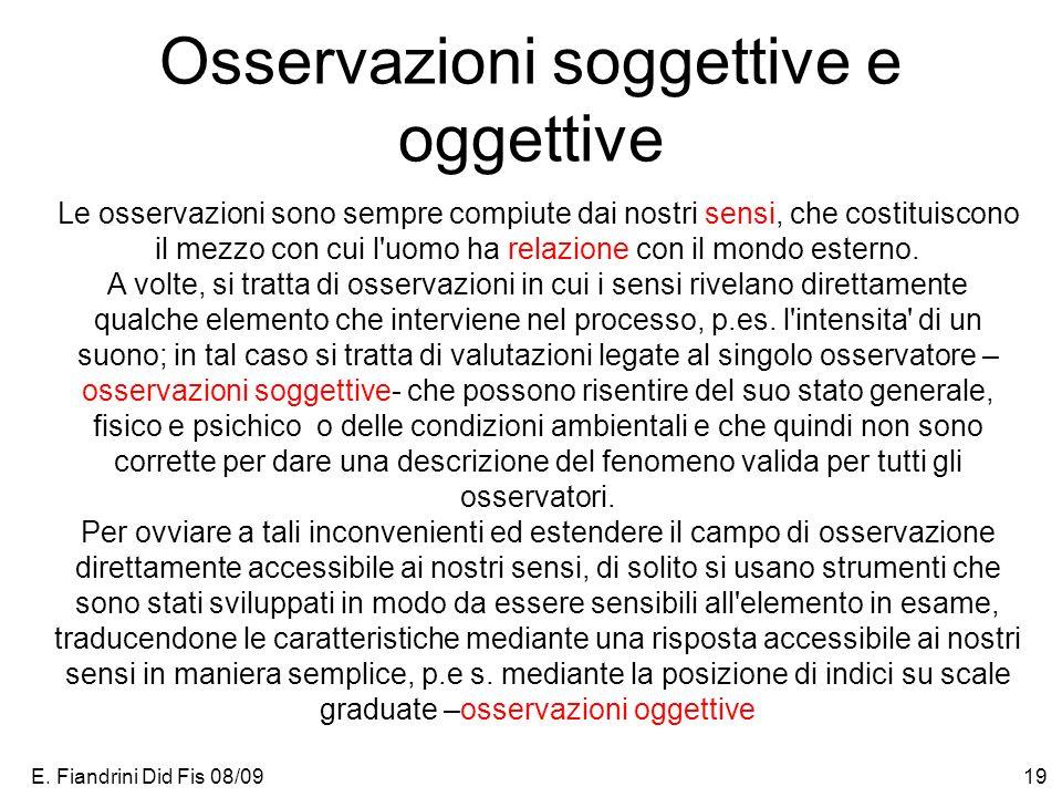 E. Fiandrini Did Fis 08/0919 Osservazioni soggettive e oggettive Le osservazioni sono sempre compiute dai nostri sensi, che costituiscono il mezzo con