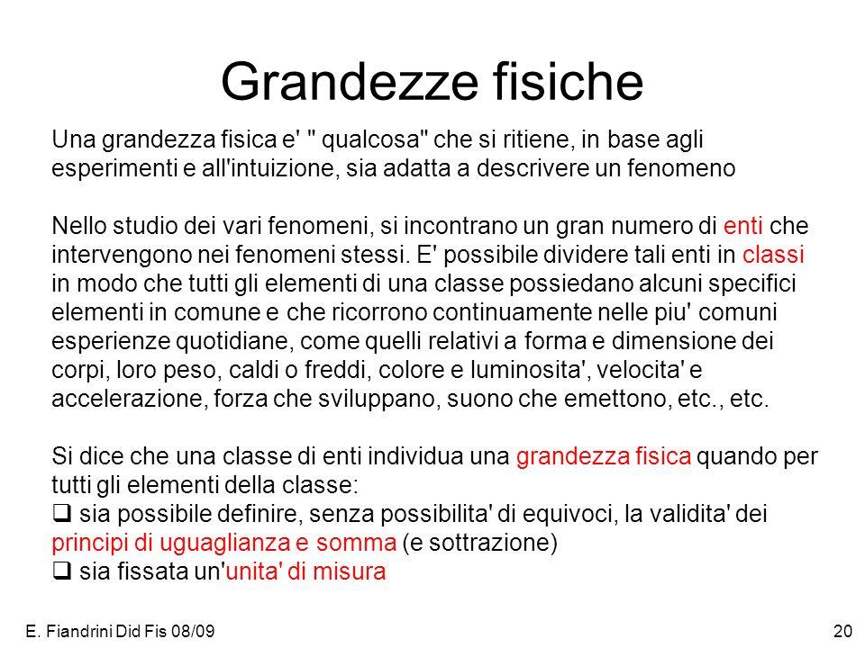 E. Fiandrini Did Fis 08/0920 Grandezze fisiche Una grandezza fisica e'