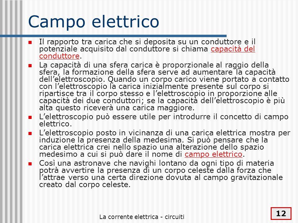 La corrente elettrica - circuiti 12 Campo elettrico Il rapporto tra carica che si deposita su un conduttore e il potenziale acquisito dal conduttore s