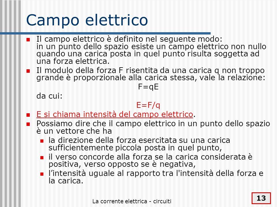 La corrente elettrica - circuiti 13 Campo elettrico Il campo elettrico è definito nel seguente modo: in un punto dello spazio esiste un campo elettric