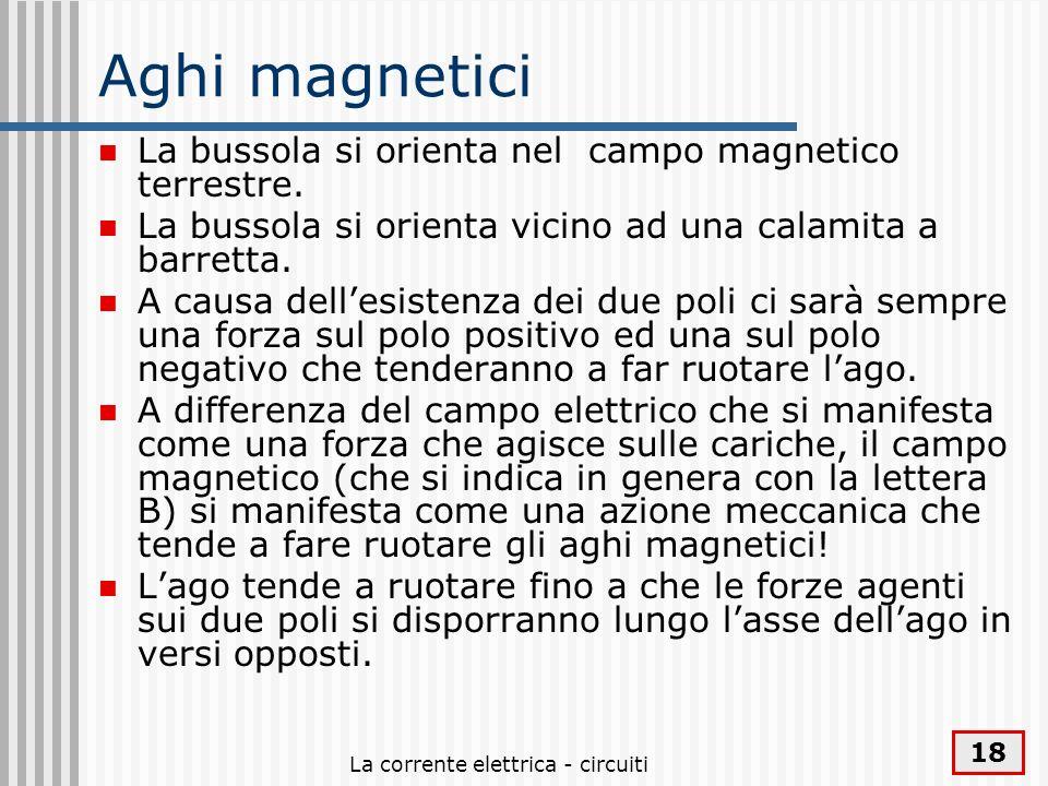 La corrente elettrica - circuiti 18 Aghi magnetici La bussola si orienta nel campo magnetico terrestre. La bussola si orienta vicino ad una calamita a