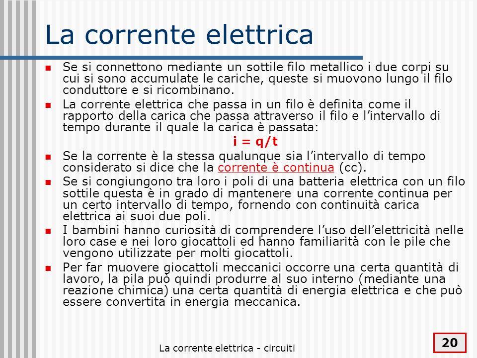 La corrente elettrica - circuiti 20 La corrente elettrica Se si connettono mediante un sottile filo metallico i due corpi su cui si sono accumulate le