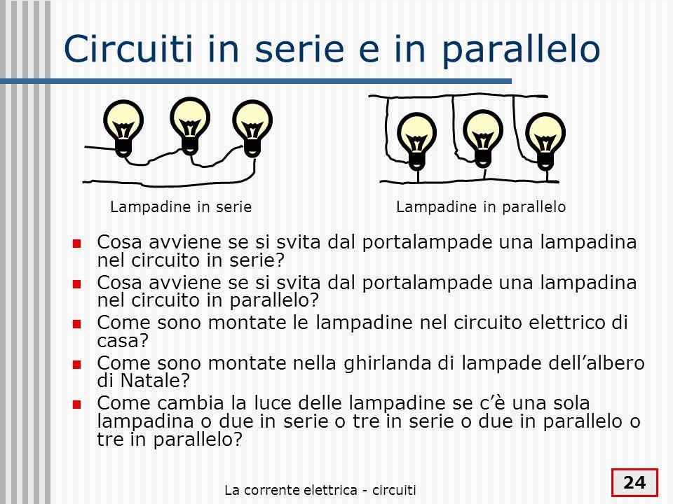 La corrente elettrica - circuiti 24 Circuiti in serie e in parallelo Cosa avviene se si svita dal portalampade una lampadina nel circuito in serie? Co