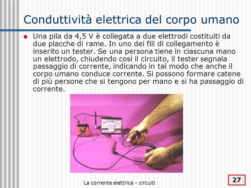 La corrente elettrica - circuiti 27 Conduttività elettrica del corpo umano Una pila da 4,5 V è collegata a due elettrodi costituiti da due placche di