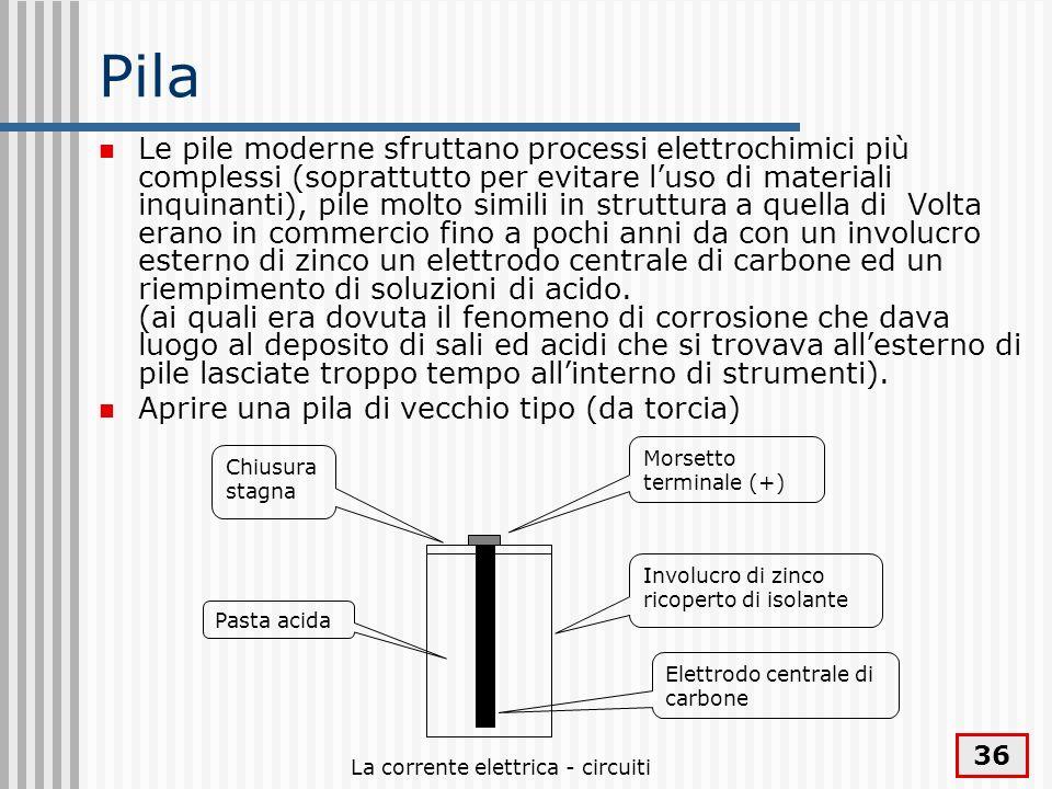 La corrente elettrica - circuiti 36 Pila Le pile moderne sfruttano processi elettrochimici più complessi (soprattutto per evitare luso di materiali in