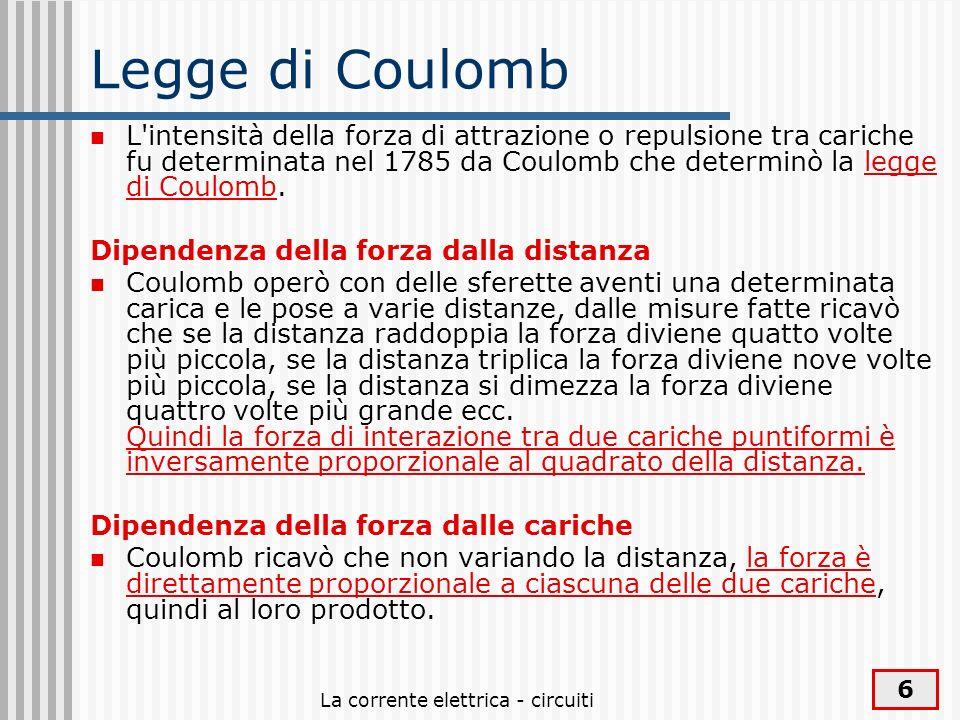 La corrente elettrica - circuiti 6 Legge di Coulomb L'intensità della forza di attrazione o repulsione tra cariche fu determinata nel 1785 da Coulomb