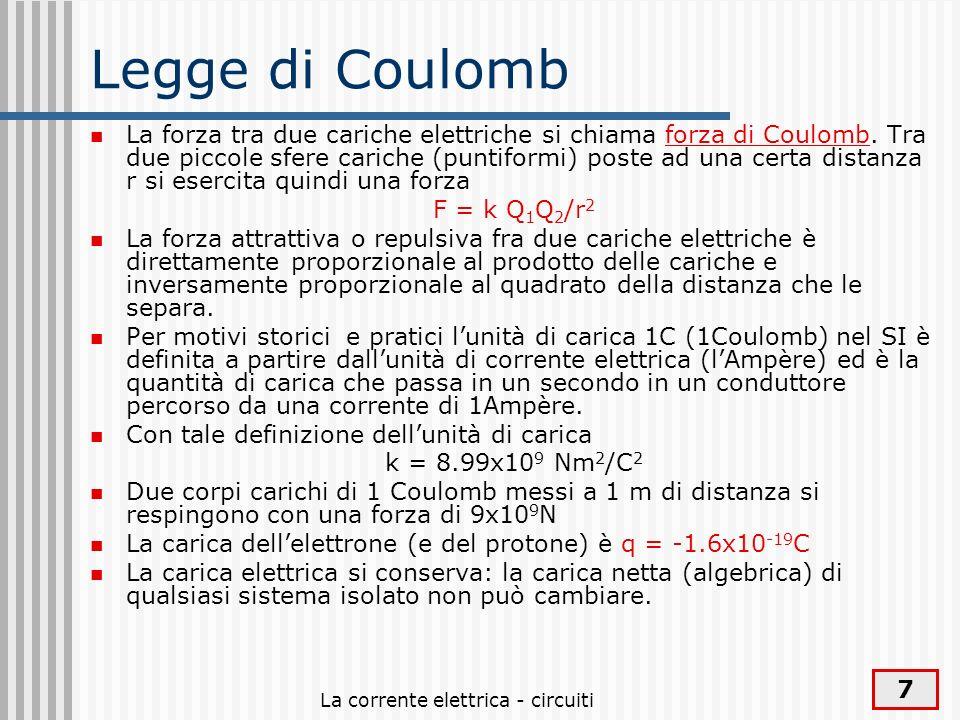 La corrente elettrica - circuiti 7 Legge di Coulomb La forza tra due cariche elettriche si chiama forza di Coulomb. Tra due piccole sfere cariche (pun