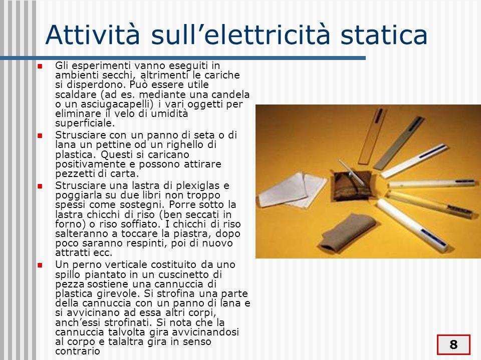 8 Attività sullelettricità statica Gli esperimenti vanno eseguiti in ambienti secchi, altrimenti le cariche si disperdono. Può essere utile scaldare (