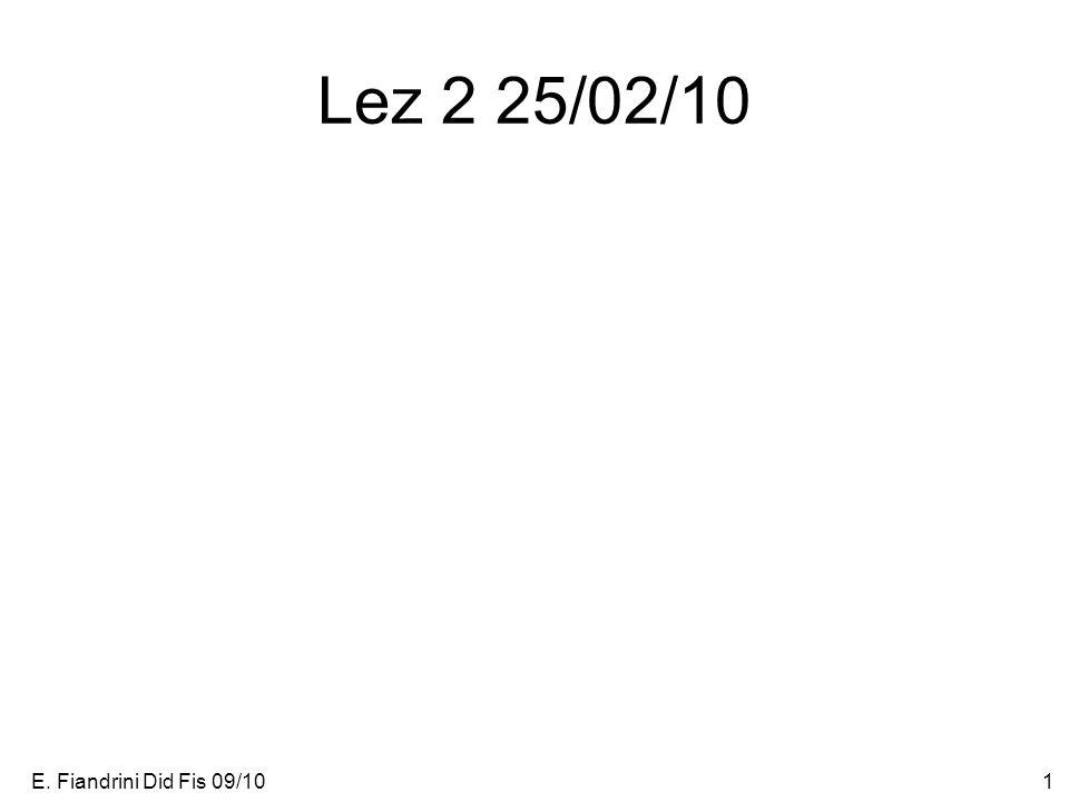 E. Fiandrini Did Fis 09/101 Lez 2 25/02/10