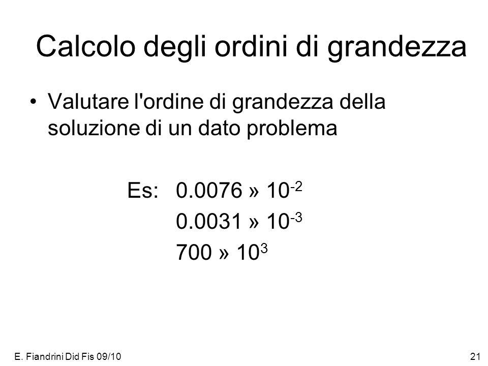 E. Fiandrini Did Fis 09/1021 Calcolo degli ordini di grandezza Valutare l'ordine di grandezza della soluzione di un dato problema Es: 0.0076 » 10 -2 0