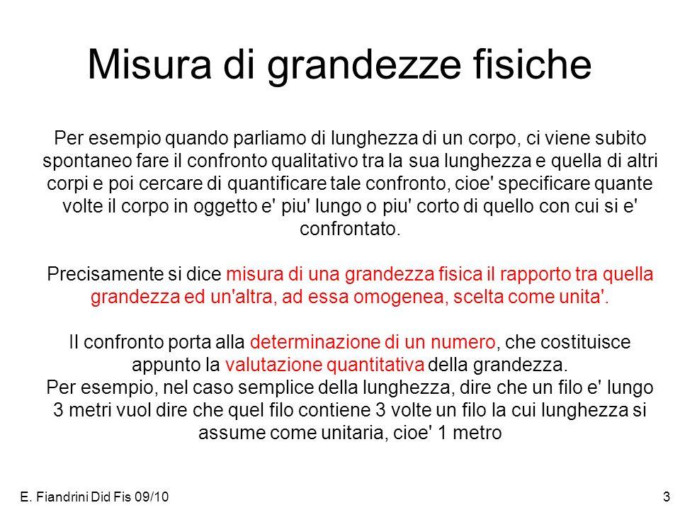 E. Fiandrini Did Fis 09/103 Misura di grandezze fisiche Per esempio quando parliamo di lunghezza di un corpo, ci viene subito spontaneo fare il confro