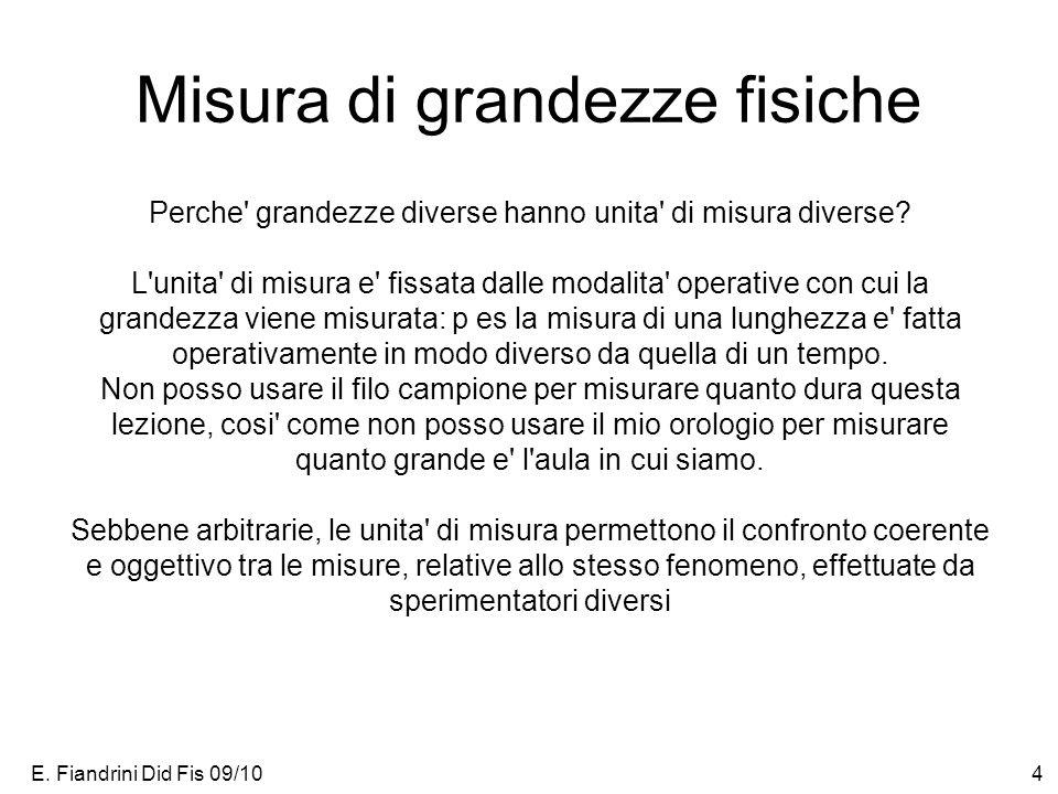 E. Fiandrini Did Fis 09/104 Misura di grandezze fisiche Perche' grandezze diverse hanno unita' di misura diverse? L'unita' di misura e' fissata dalle