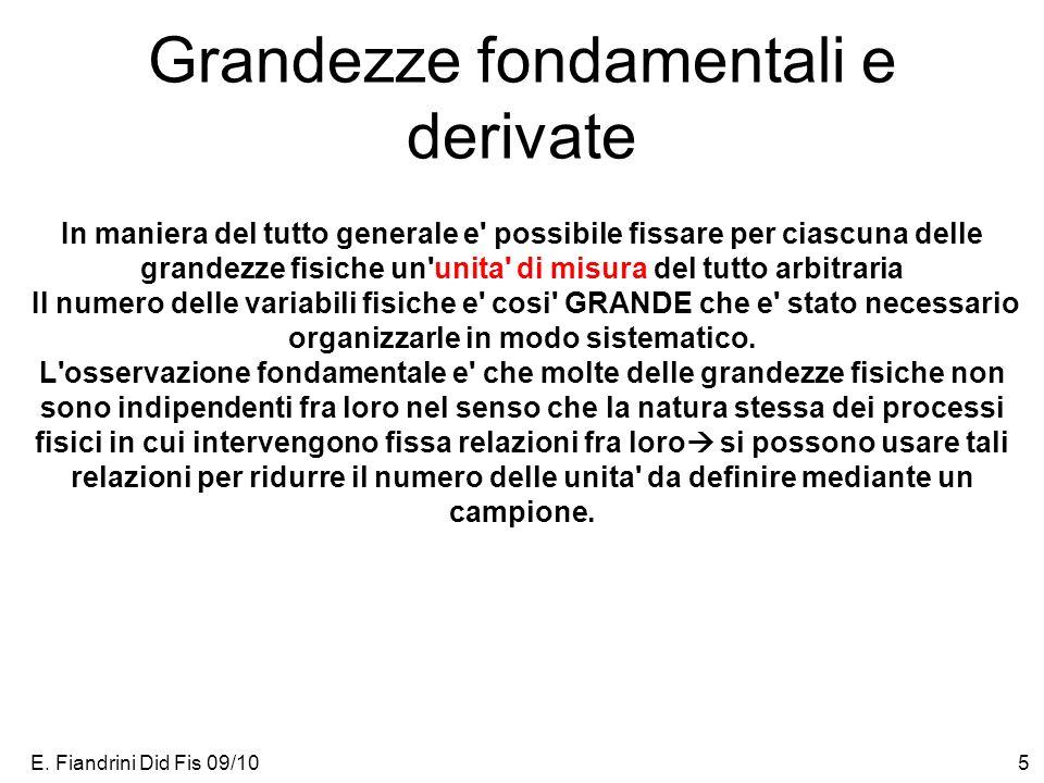 E. Fiandrini Did Fis 09/105 Grandezze fondamentali e derivate In maniera del tutto generale e' possibile fissare per ciascuna delle grandezze fisiche