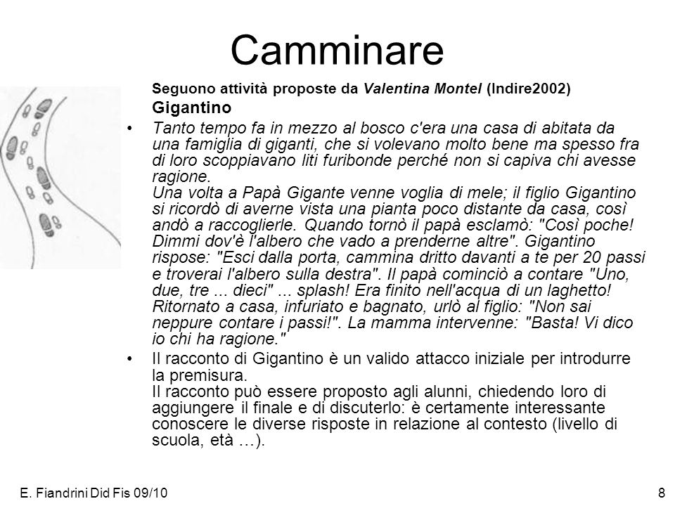 E. Fiandrini Did Fis 09/108 Camminare Seguono attività proposte da Valentina Montel (Indire2002) Gigantino Tanto tempo fa in mezzo al bosco c'era una