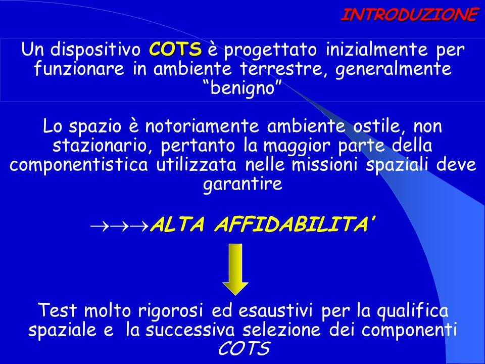 COTS Un dispositivo COTS è progettato inizialmente per funzionare in ambiente terrestre, generalmente benigno INTRODUZIONE Lo spazio è notoriamente am