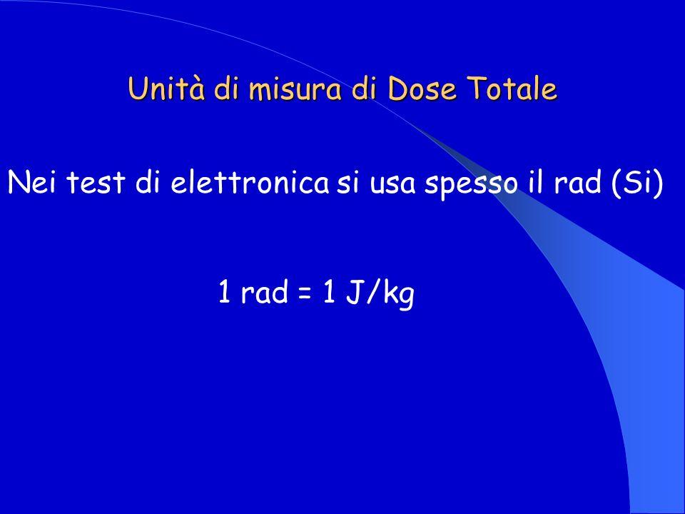 Unità di misura di Dose Totale Nei test di elettronica si usa spesso il rad (Si) 1 rad = 1 J/kg