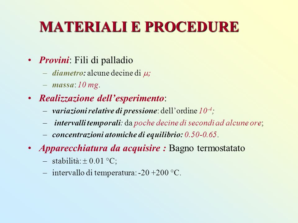 MATERIALI E PROCEDURE Provini: Fili di palladio –diametro: alcune decine di –massa: 10 mg.