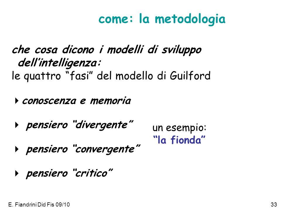 E. Fiandrini Did Fis 09/1033 che cosa dicono i modelli di sviluppo dellintelligenza: le quattro fasi del modello di Guilford conoscenza e memoria pens
