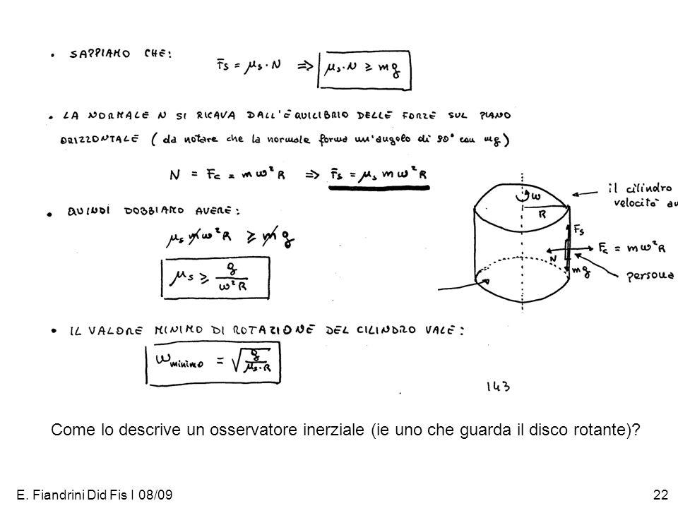 E. Fiandrini Did Fis I 08/0922 Come lo descrive un osservatore inerziale (ie uno che guarda il disco rotante)?
