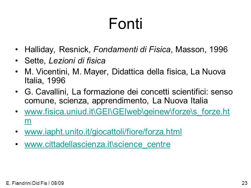 E. Fiandrini Did Fis I 08/0923 Fonti Halliday, Resnick, Fondamenti di Fisica, Masson, 1996 Sette, Lezioni di fisica M. Vicentini, M. Mayer, Didattica