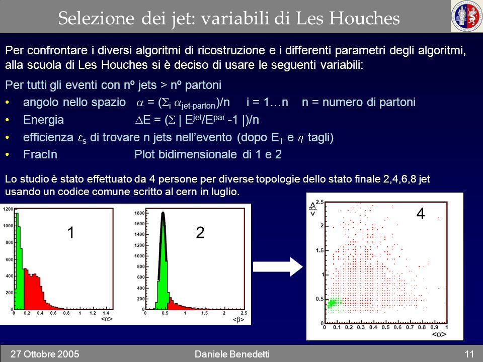 27 Ottobre 2005Daniele Benedetti11 Selezione dei jet: variabili di Les Houches Per confrontare i diversi algoritmi di ricostruzione e i differenti par