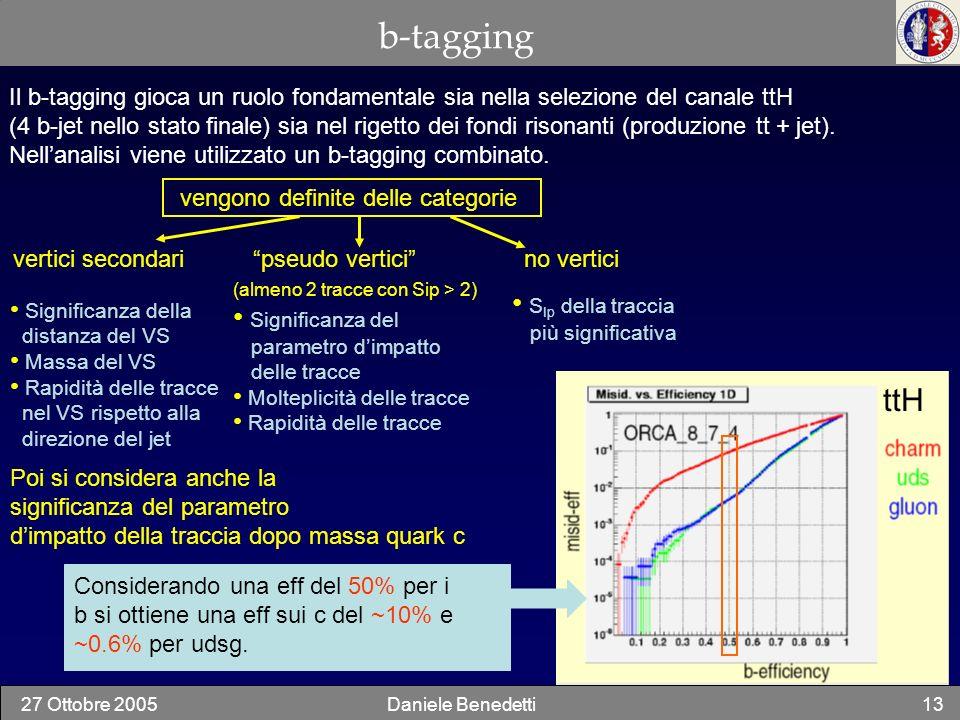 27 Ottobre 2005Daniele Benedetti13 b-tagging Il b-tagging gioca un ruolo fondamentale sia nella selezione del canale ttH (4 b-jet nello stato finale)