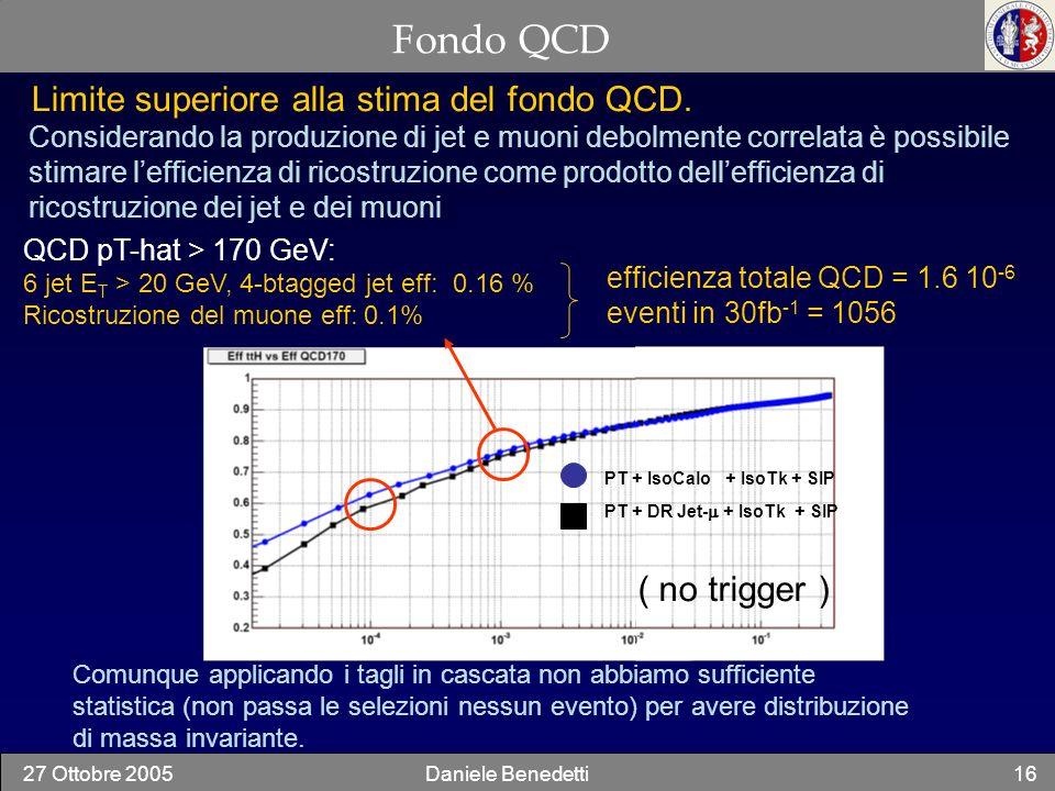 27 Ottobre 2005Daniele Benedetti16 Fondo QCD Considerando la produzione di jet e muoni debolmente correlata è possibile stimare lefficienza di ricostr