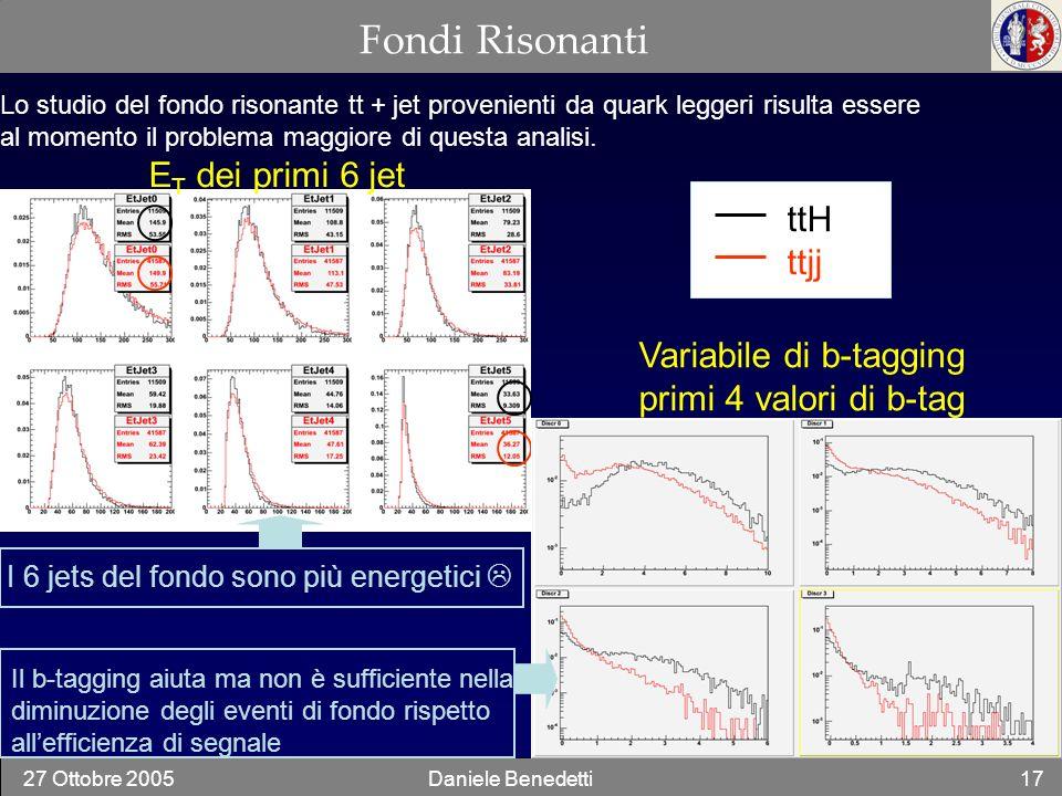 27 Ottobre 2005Daniele Benedetti17 Fondi Risonanti Lo studio del fondo risonante tt + jet provenienti da quark leggeri risulta essere al momento il pr