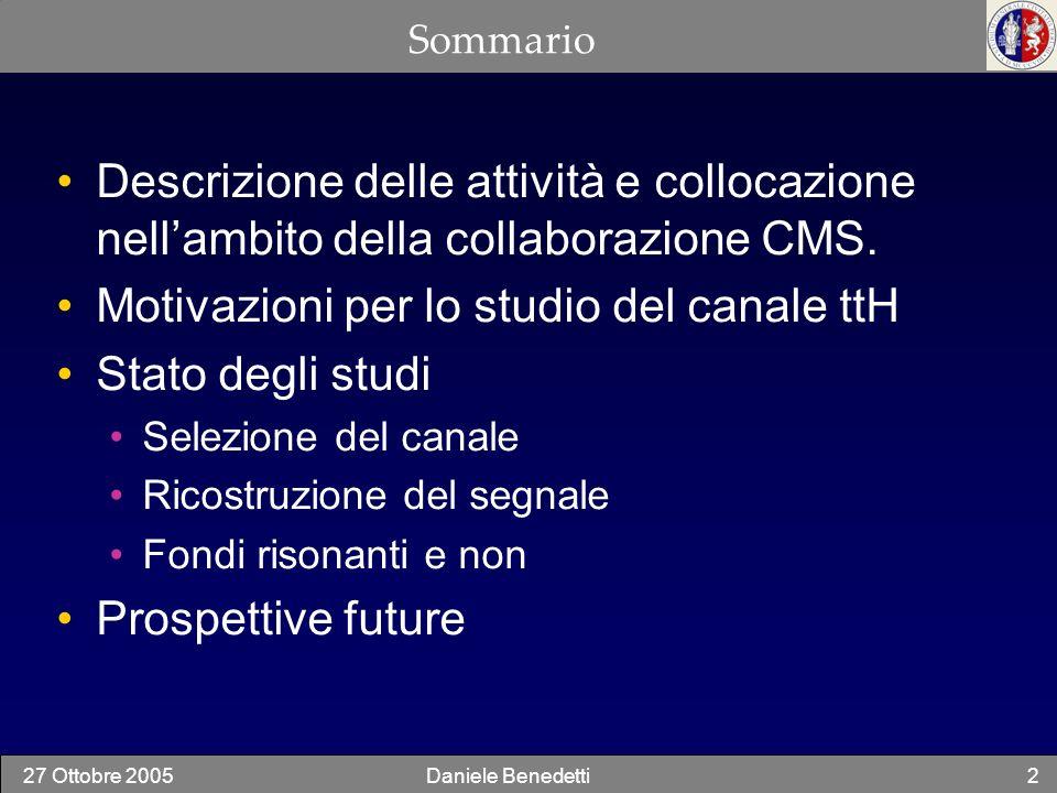 27 Ottobre 2005Daniele Benedetti2 Sommario Descrizione delle attività e collocazione nellambito della collaborazione CMS. Motivazioni per lo studio de