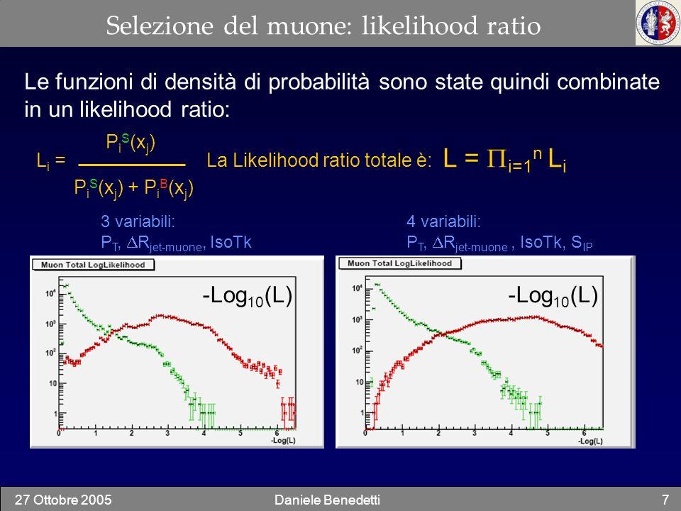 27 Ottobre 2005Daniele Benedetti8 Selezione del muone: risultati Prestazioni per differenti combinazioni delle variabili Blu = 3 Variabili Rosso = 4 Variabili P T + IsoCalo + IsoTk + S IP P T + R Jet- + IsoTk + S IP P T + IsoCalo + R Jet- + S IP Mu eff ~ 90 % Fake eff ~ 1% Lo strumento è implementato, con una classe in c++, nel software ufficiale dellesperimento Un campione di muoni dal W e muoni fake è stato create partendo da un campione di ttH usando le informazioni MC.