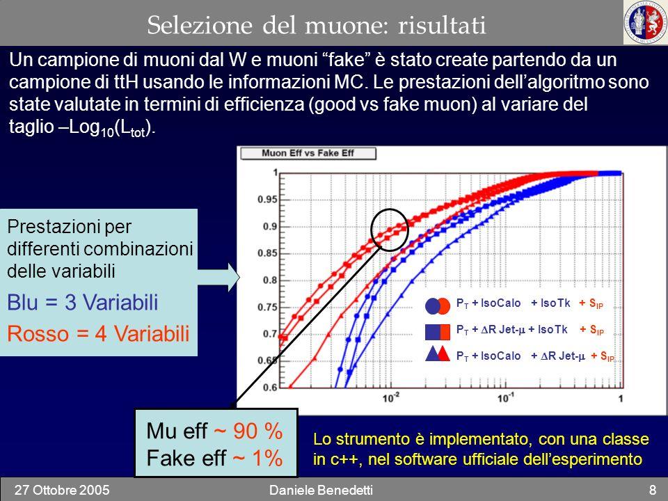 27 Ottobre 2005Daniele Benedetti8 Selezione del muone: risultati Prestazioni per differenti combinazioni delle variabili Blu = 3 Variabili Rosso = 4 V