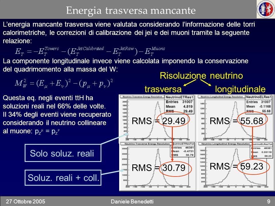 27 Ottobre 2005Daniele Benedetti10 Selezione dei jet: algoritmi considerati La ricostruzione dei jet adronici può essere effettuata considerando differenti algoritmi: Vengono associate le torri entro un raggio ΔR (0.7 o 0.2) attorno al seed e viene calcolato il baricentro del jet.