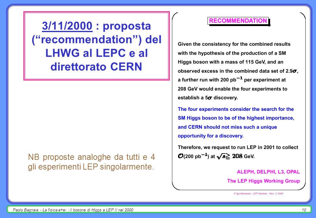 Paolo Bagnaia - La fisica e+e- : il bosone di Higgs a LEP II nel 20009 risultati dei dati del 2000 – LEPC, 3/11/2000 m H =115 +1.3 -0.9 GeV; -2nQ| eventi reali = -7; 1-CL b = 4.2×10 -3 ; 2.9 ; m H > 113.5 GeV @ 95%CL ??.
