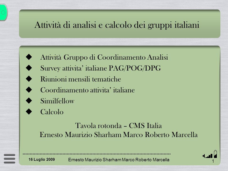 Articoli iniziali: contributo INFN (first papers to be finalized for Bologna) Ernesto Maurizio Sharham Marco Roberto Marcella 32 16 Luglio 2009 QCD18 EWK711 TOP02 B-physics48 SUSY28 EXOTICA313 HIGGS36 Forward physics25 TOTALE2261 CON AUTORE INFN TOTALE