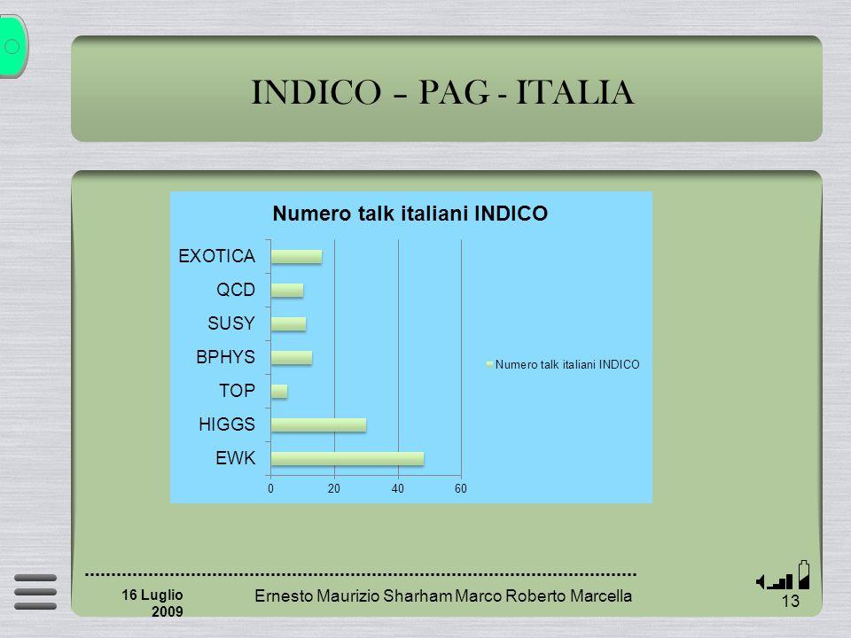INDICO – PAG - ITALIA Ernesto Maurizio Sharham Marco Roberto Marcella 13 16 Luglio 2009