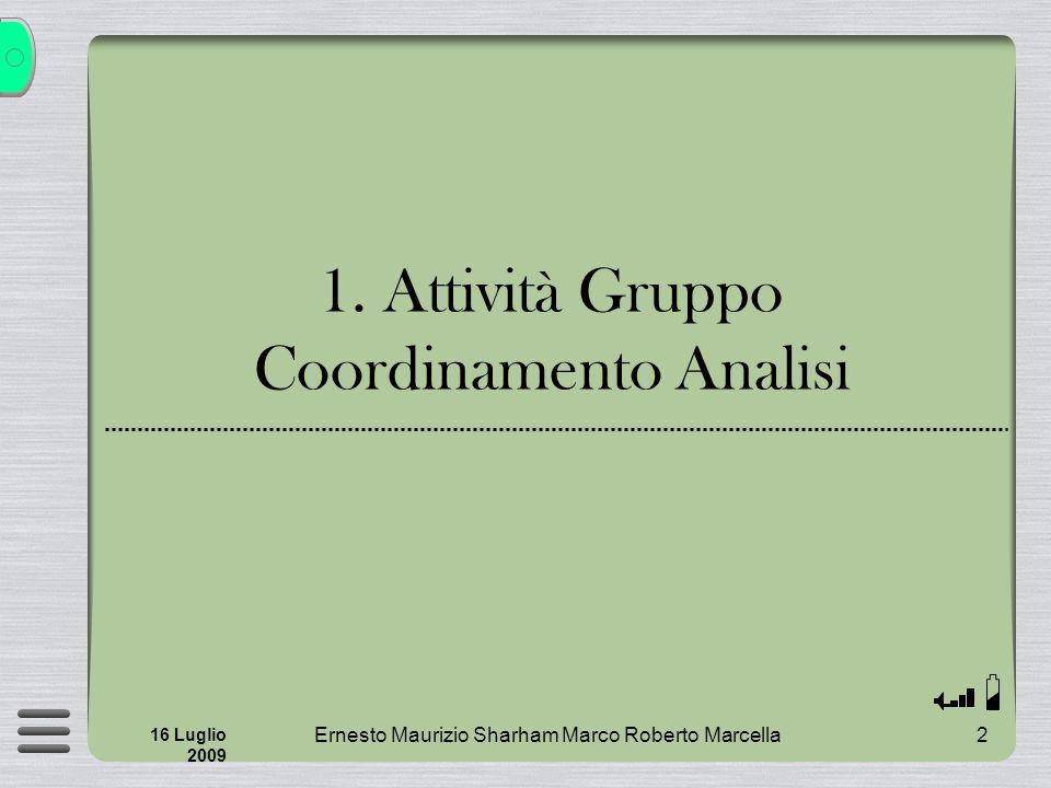 2 16 Luglio 2009 1. Attività Gruppo Coordinamento Analisi