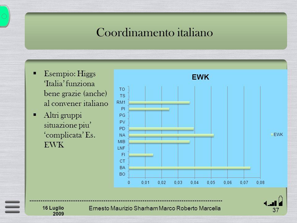 Ernesto Maurizio Sharham Marco Roberto Marcella 37 16 Luglio 2009 Coordinamento italiano Esempio: Higgs Italia funziona bene grazie (anche) al convener italiano Altri gruppi situazione piu complicata Es.