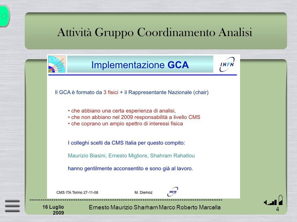 Ernesto Maurizio Sharham Marco Roberto Marcella 35 16 Luglio 2009 Riunioni tematiche (trasversali?) Problemi Come inserirli nelle agende fittissime di CMS Lunch meeting.