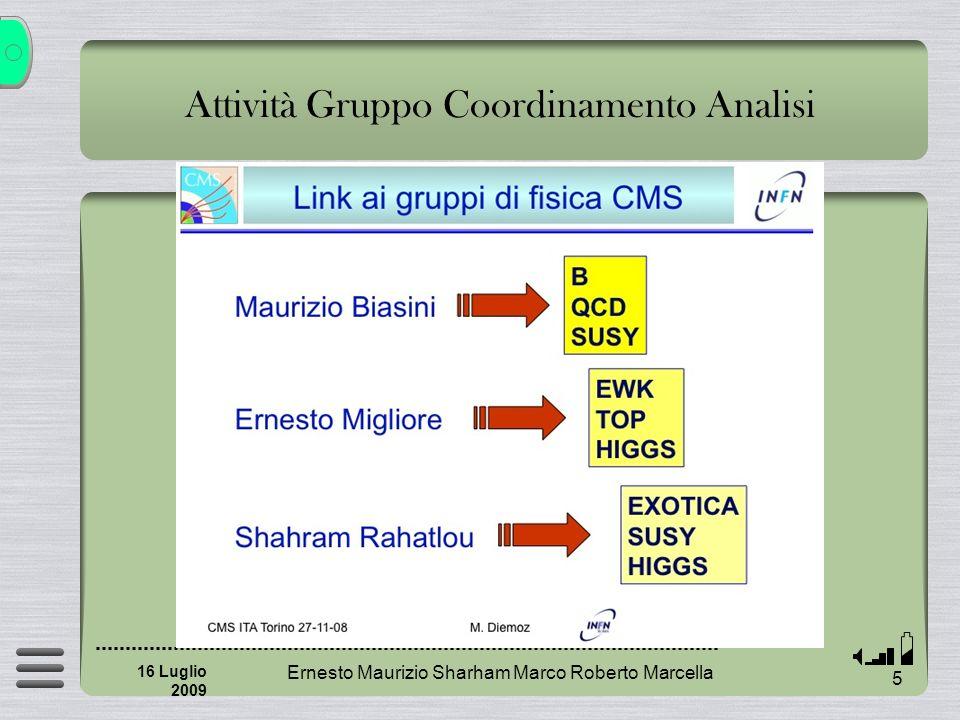 Attività Gruppo Coordinamento Analisi Ernesto Maurizio Sharham Marco Roberto Marcella 6 16 Luglio 2009 Reharsal IFAE http://indico.cern.ch/conferenceDisplay.py?confId=56108 Incontri di Fisica del b http://evo.caltech.edu/evoGate/koala.jnlp?meeting=ete8eavvv9anauI9aiIt Coordinamento abstract SIF http://personalpages.to.infn.it/~migliore/SIF09/abstracts-v1.pdf Survey attività italiani Detector Performance Group DPG Physics Analysis Group PAG Physics Object Group POG