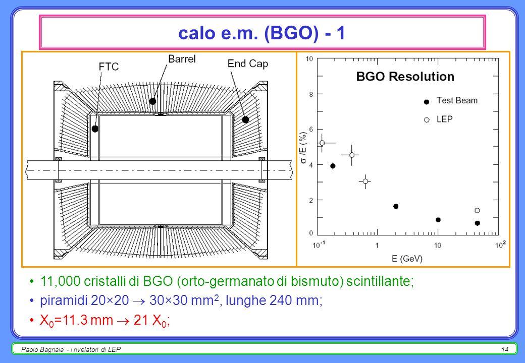 Paolo Bagnaia - i rivelatori di LEP13 TEC – Time Expansion Chamber - 2 insieme a SMD per la misura dei vertici secondari); usata anche nel trigger di
