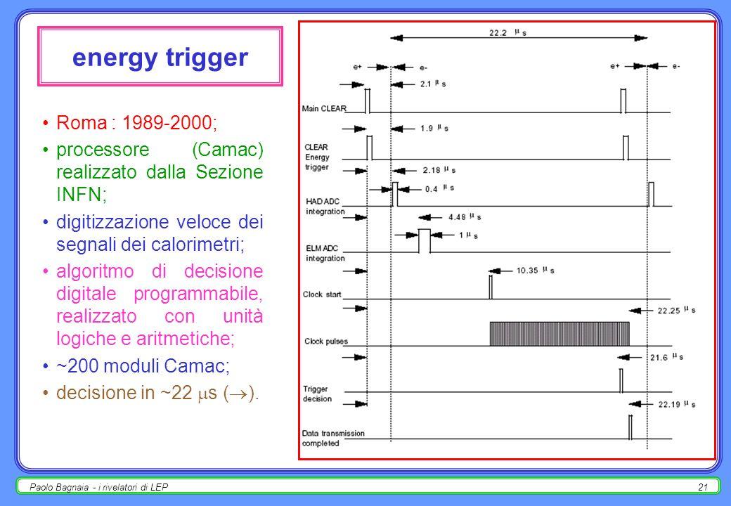 Paolo Bagnaia - i rivelatori di LEP20 trigger / daq problema : incroci 44/88 KHz fisica ~ 1 Hz; trigger di evento (no selezione sul tipo di processo,