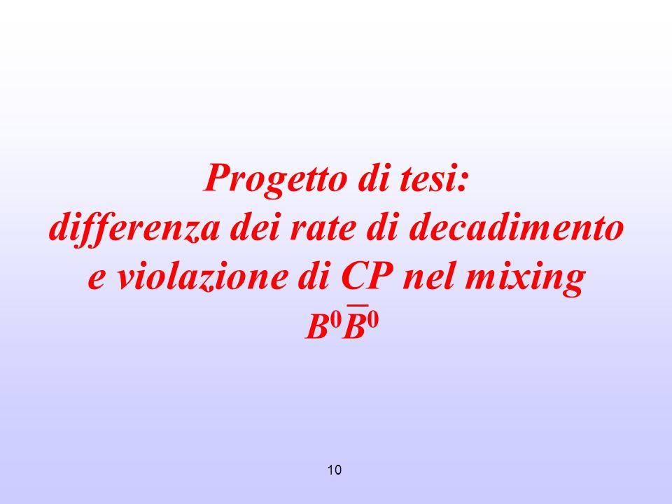 10 Progetto di tesi: differenza dei rate di decadimento e violazione di CP nel mixing B 0 B 0